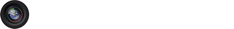 Logo for Blue Marble Photography showing the planet Earth inside of a camera lens